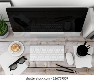 3D illustration of modern computer template, workspace mock up, background