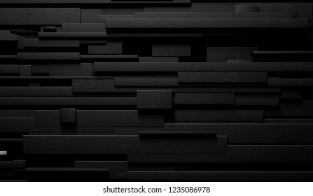 3d illustration of modern and elegant wall. Sophisticated interior architecture.Abstract black and dark background of marble wall or bricks.