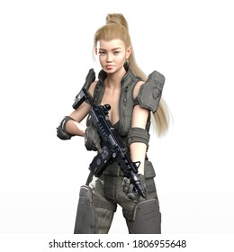 3D Illustration of Modern Female Soldier With a Rifle Isolated on White