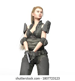 3D Illustration of Modern Female Soldier With Pistol Isolated on White