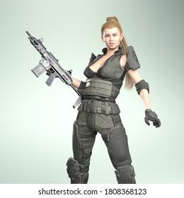 3D Illustration of Modern Female Soldier with a Rifle With Fake Brand Logos