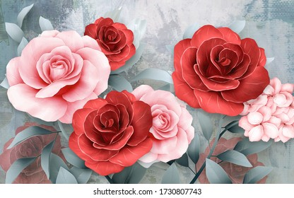 3d illustration modern floral background. Luxurious abstract art digital painting for wallpaper and for wedding