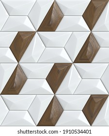 3d Illustration. Modern Geometric Wallpaper. White tiles with  wooden walnut decor. Seamless realistic texture
