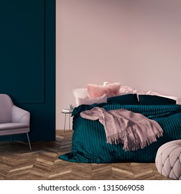 3d illustration. Modern green bedroom with pink mock-up wall