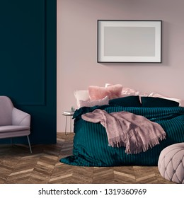 3d illustration. Modern green bedroom with mock-up picture