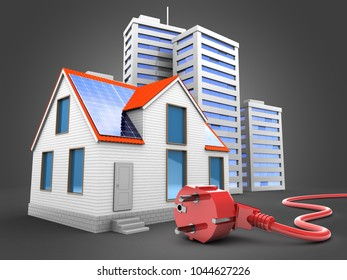 3d illustration of modern house over gray background with city and power cord