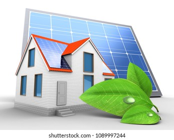 3d illustration of modern house over white background with solar panel and green leaf