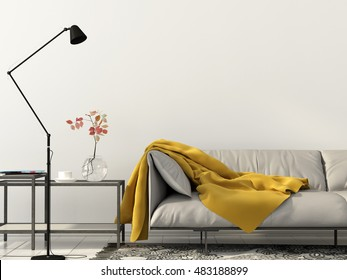 3d illustration of modern interior of  living room with white sofa a floor lamp and yellow blanket