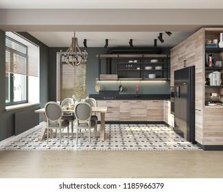 3D illustration modern kitchen, design, interior, 3d rendering