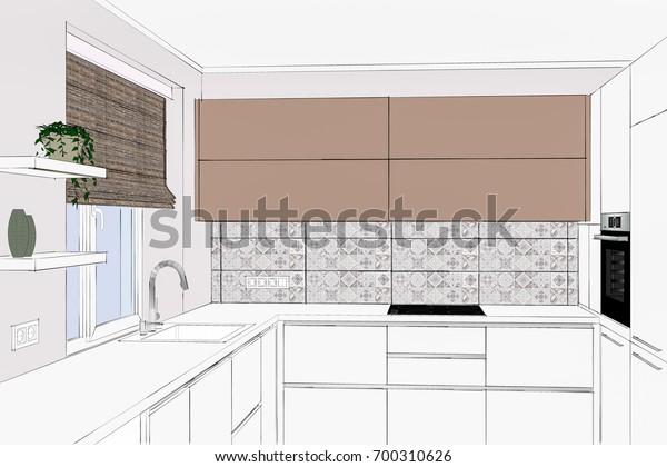 3d Illustration Modern Kitchen Design Light Stock ...