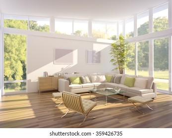 3d illustration of a modern living room
