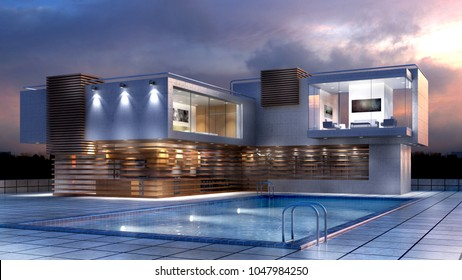 3D Illustration of a modern luxury house with a pool, for contemporary architectural design backgrounds.