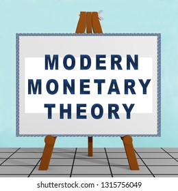 3D illustration of MODERN MONETARY THEORY title on a tripod display board