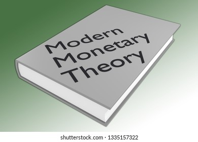 3D illustration of Modern Monetary Theory script on a book, isolated on white.