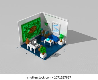 3D illustration of modern office