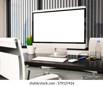 3d illustration modern office with blank computer screen. Mockup