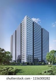 3D illustration modern office building; skyscraper 3d; 300dpi