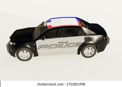 3d illustration of a modern police car.Sporty style