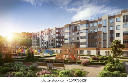 3D illustration modern residential complex for young families, 300 dpi