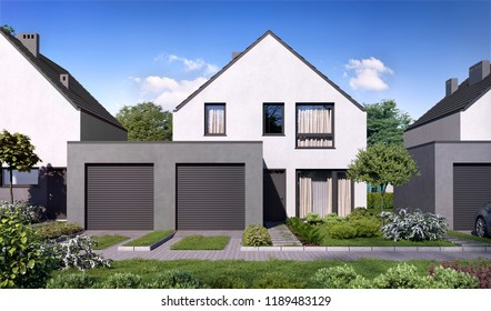 3D illustration modern residential complex for young families; townhouse 3d rendering; 3d rendering; 300 dpi