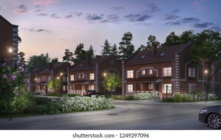 3D illustration modern residential complex for young families; night view townhouses village 3d; 300 dpi