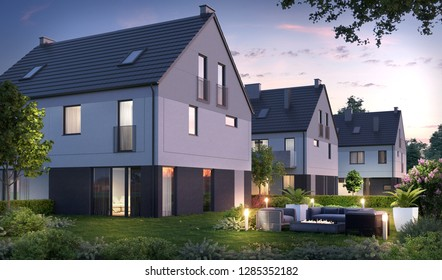 3D illustration modern residential complex for young families; townhouses village 3d; 300 dpi