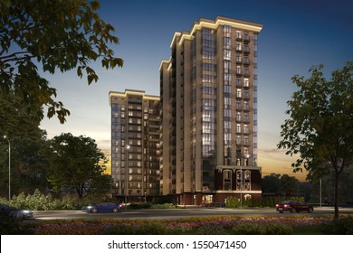 3D illustration modern residential complex, luxury apartments, 3d rendering, 300 dpi