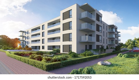 3D illustration modern residential complex for young families; 300 dpi