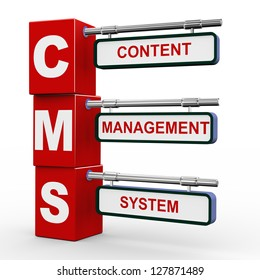 3d illustration of modern roadsign cubes signpost of cms - Content Management System