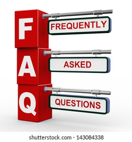 3d illustration of modern roadsign cubes signpost of faq - frequently asked question