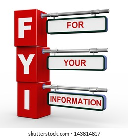 3d illustration of modern roadsign cubes signpost of fyi - for your information