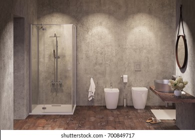 3d illustration of a Modern shower room with spotlights in the evening