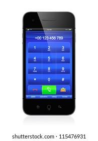 3D illustration of modern smartphone. Call menu design.