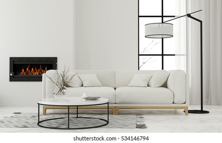 3D illustration. Modern white living room with minimalist fireplace
