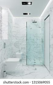 3d illustration. The modern white shower room