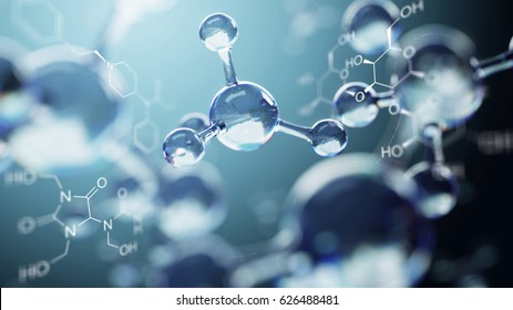 3d illustration of molecule model. Science background with molecules chemical formulas