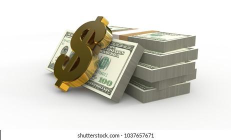 3d illustration of money isolated on white background