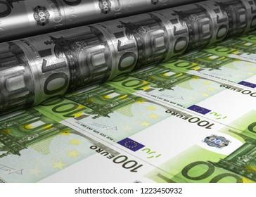 3D illustration money print