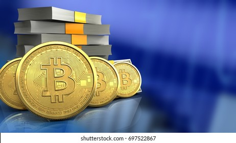 3d illustration of money stack over blue graph background with bitcoins row