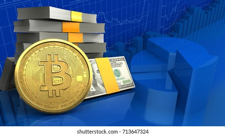3d illustration of money stack over business charts background with bitcoin