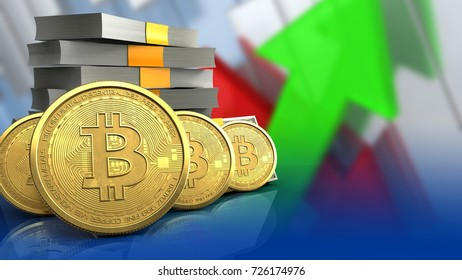 3d illustration of money stack over arrows graph background with bitcoins row
