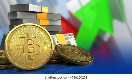3d illustration of money stack over arrows graph background with bitcoins