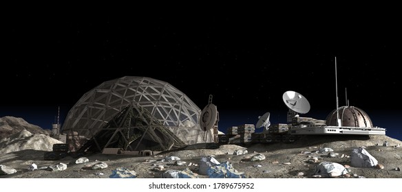 3D Illustration of a Moon outpost colony with a geodesic dome housing a vertical garden pyramid, for space exploration, terraforming and colonization, or science fiction backgrounds.