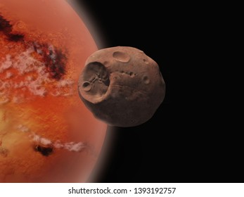 3d illustration of the moon Phobos and the planet Mars
