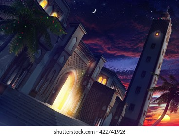 3d illustration Mosque night
