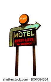 3d illustration of a motel sign vintage isolated on white background