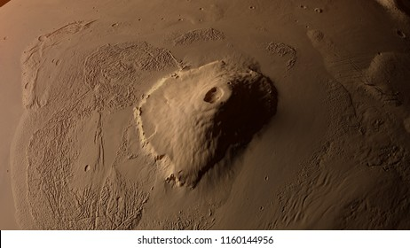 3D illustration of Mount Olympus on Mars planet surface