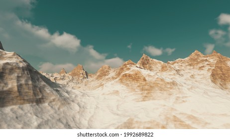 3D illustration of a mountain in ether world, ether mountain, Surface of ether world, 3d render