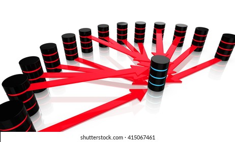 3D illustration of multiple malicious servers in red attacking one central computer in blue denial of service concept