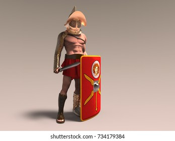 3d illustration of a murmillo gladiator